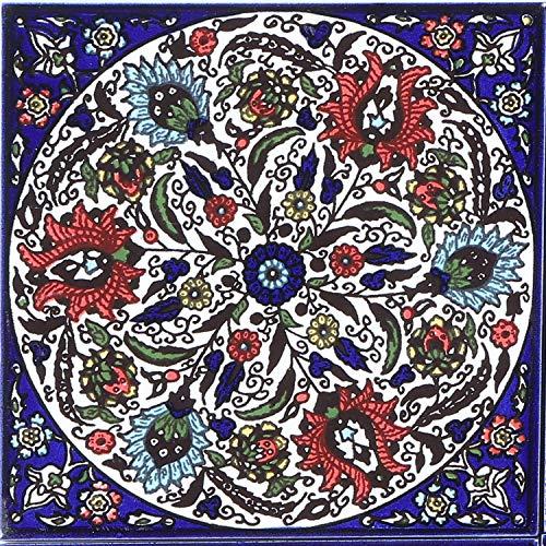 Casa Moro Orientalische Fliese Isa-4 14,8 x 14,8 cm handbemalte Keramikfliese Kunsthandwerk aus Palästina Wandfliese für schöne Küche Dusche Badezimmer Dekoration | FL8304