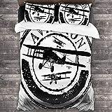 BROWCIN Juego de Sábanas Diseño de Sello de Grunge con Siluetas de avión y aviación de Palabra Juego de Funda nórdica y Funda de Almohada(200*200cm) Cierre de Cremallera con Lazos de Esquina