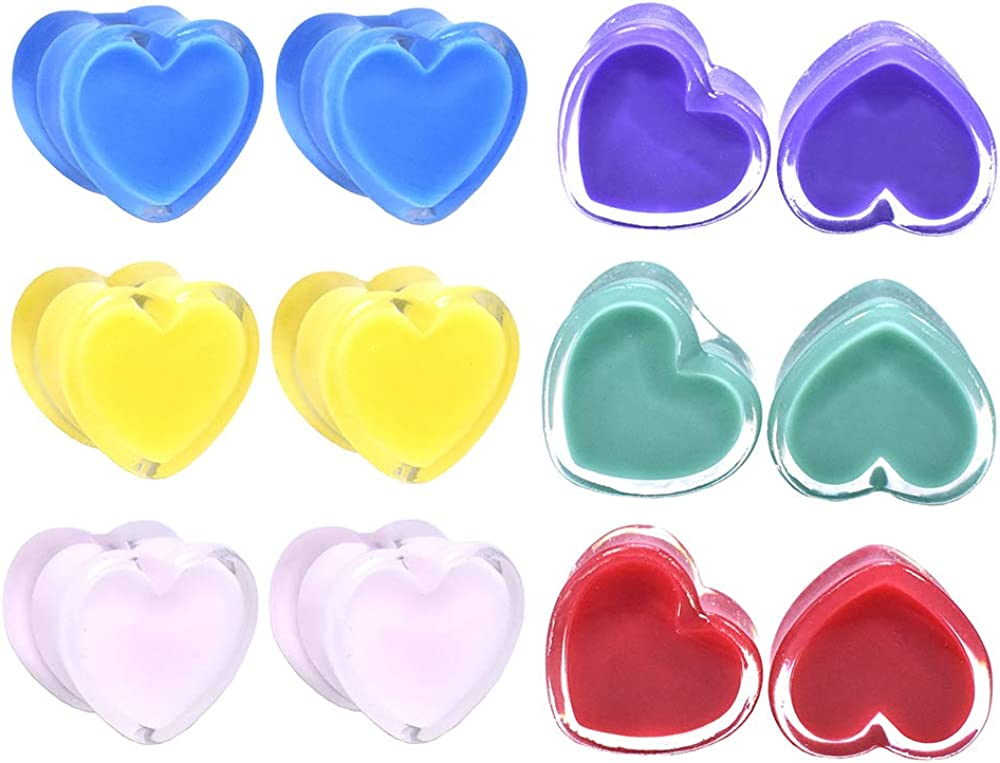 Jboyanpei Colored Heart Acrylic Ear Plugs Tunnels Gauges Stretcher Piercings Body Jewelry Size 2g(6mm) to 1''(25mm)