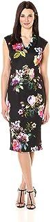 S.L. Fashions Women's Tuck Neckmidi Floral Scuba