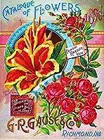 1896 G.r. ガウスローズカタログヴィンテージ花種子錫サインヴィンテージノベルティおかしい鉄の絵の金属板