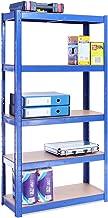 G-Rack 0020-1 Estantería de Almacenamiento para Garaje – 5 Estantes (175KG de Carga Cada Balda) – Capacidad para 875KG – Muy Resistente, Azul, 150cm x 75cm x 30cm