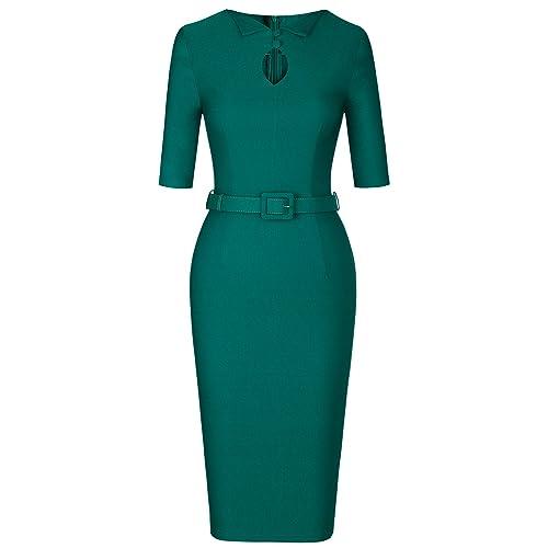 MUXXN Women s Vintage 1950 s Office Dress with Belt 4a900dc08