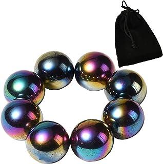 NICO SEE WONDER 1Inch 25mm Rainbow Magnetic Balls, 8Pcs Sphere Magnets Fidget Toys with Bag, Hematite Magnetic Rattlesnake...