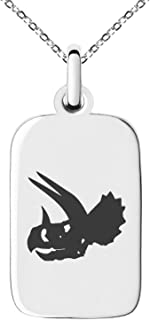 Stainless Steel Triceratops Fossil Small Rectangle Dog Tag Charm Pendant Necklace