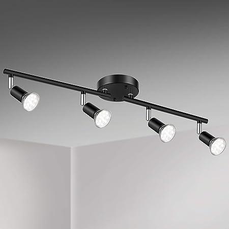 Unicozin LED 4 Light Track Lighting Kit, Black 4 Way Ceiling Spot Lighting, Flexibly Rotatable Light Head, Track Light Included 4 x LED GU10 Bulb (4W, Daylight White 5000K, 400LM)