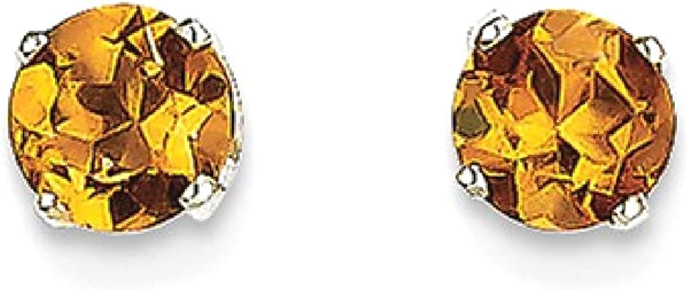 14k White Gold 5mm Yellow Citrine Stud Earrings Birthstone November Prong Gemstone Fine Jewelry For Women Gifts For Her