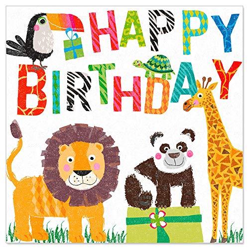 ARTEBENE Serviette Papierserviette Zootiere Happy Birthday Kindergeburtstag Tissue | 33 x 33 cm | 20 Stück | 3-lagig | Hochwertige Serviette für Kindergeburtstag, Geburtstag, Kinderfete
