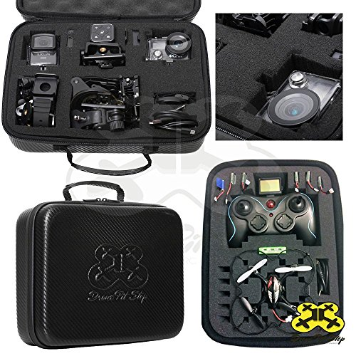 DIY Carrying Case (Small) for Mini Drone Quadcopter, Action Cameras- Pre-Cut Pick and Pluck Foam - Fits Syma, Hubsan, JJRC, Cheerson, Holystone, GoPro, SJCAM- Splash-Proof | EVA - Maximum Protection