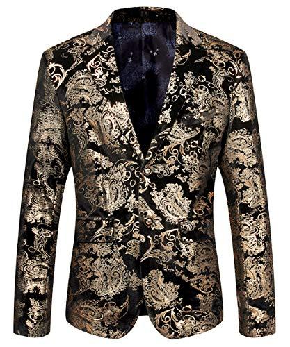 Cloudstyle Men's Sport Coat Slim Fit Notched Lapel Sequins Dance Party Blazer Jacket, Blue-purple, Medium