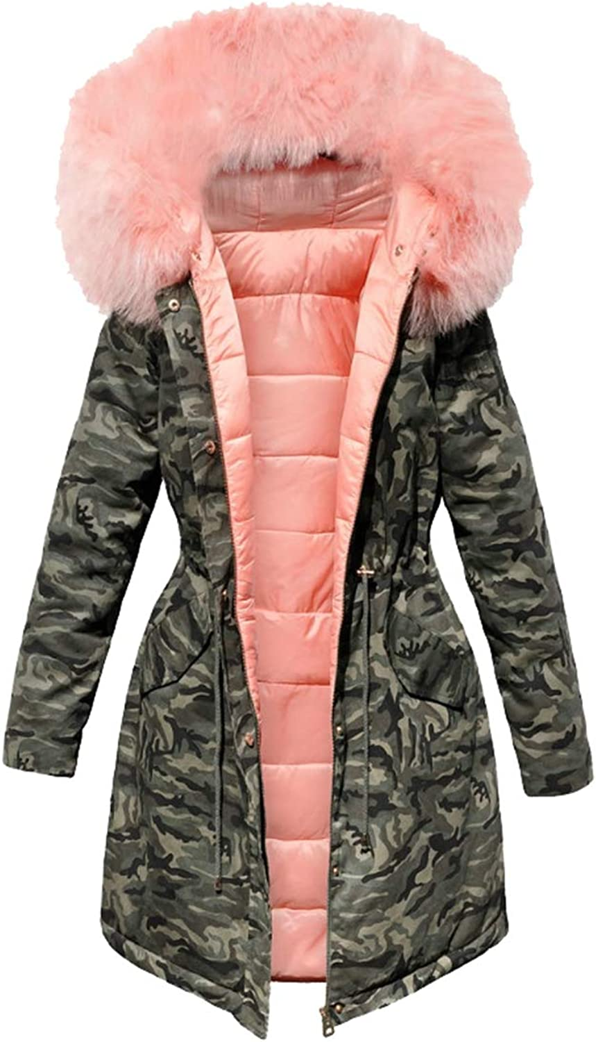 Esast Womens Parka Faux Fur Collar Camo Print Jacket with Hooded Down Jacket
