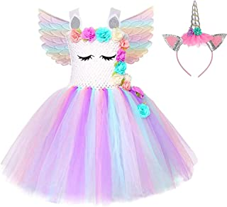 Unicorn Tutu Dress for Girls Birthday Party Dress Handmade Pastel Unicorn Costume Outfit with Headband
