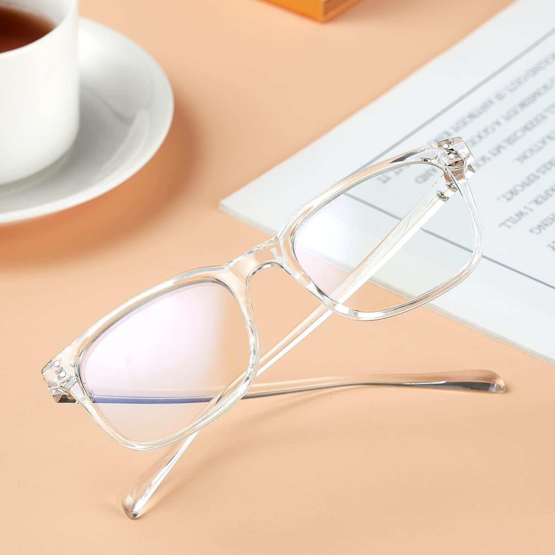 FreezeFrames Blue Light Blocking Glasses,Computer Glasses,Radiation Protection Gaming Glasses,for UV Protection, Anti Eyestrain,Lightweight Frame Eyewear,Men/Women (Transparent)
