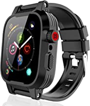 Waterproof Cases Apple Watch for 44mm Series 4/5, Rugged Shockproof Impact Resistant 360°Protective Built-in Screen Protector with Series 4/5 Soft Bands for Apple iWatch Series 4/5 44mm (Black)