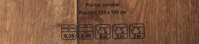 PVC Vinyl-Bodenbelag in Walnuss Optik CV-Boden wird in ben/ötigter Gr/ö/ße als Meterware geliefert CV-Belag im Landhausdielen-Stil PVC-Belag verf/ügbar in der Breite 200 cm /& in der L/änge 300 cm