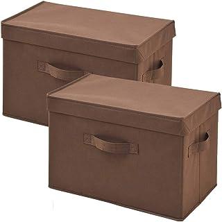 [山善] ふた付き 収納ボックス 幅38×奥行25×高さ25cm 取っ手付き カラーボックス対応 完成品 ブラウン 2個組 YTCF-2PF(BR)