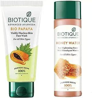 Biotique Youthfull Skin Care Pack - Bio Papaya Face Wash 100ml, Bio Toner Honey water 120ML (2 Items in the set)