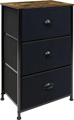 Sorbus Nightstand - 3 Drawer Fabric Dresser, Small Dressers for Bedroom, Storage Organizer Dresser for Home, Hallway, Office, College Dorm, Steel Frame, Rustic Wood Top, (Black)