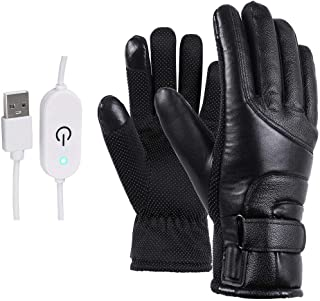 Red-eye Motorcycle Electric Heated Gloves Windproof Cycling Skiing Warm Heating Gloves Infinite Temperature Adjustment USB Powered for Men Women