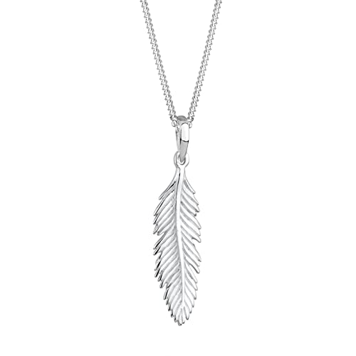 Elli Women s 925 Sterling Silver Xilion Cut with Feather Pendant Necklace 4d7f8c4a851f