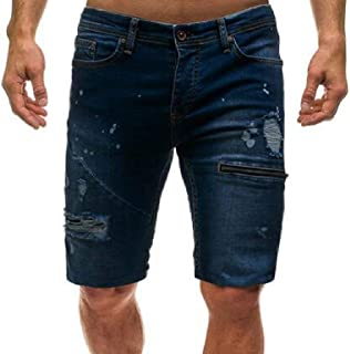 Fensajomon Mens Solid Color Ripped Destroyed Casual Slim Fit Straight Leg Stretchy Denim Shorts Jeans White L