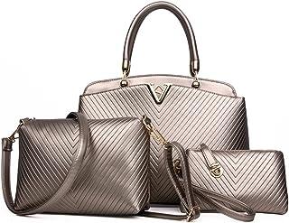 MIMITU Damen einfarbige Lederhandtasche im Freien mit großer Kapazität Umhängetasche einfache Mode beiläufige Einkaufstasche