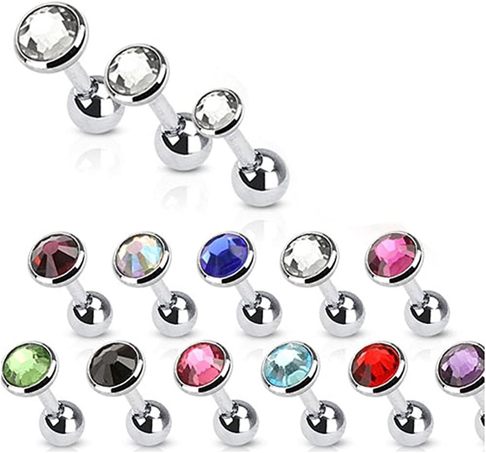 Covet Jewelry Flat Top Disc Gem 316L Surgical Steel Cartilage Barbell