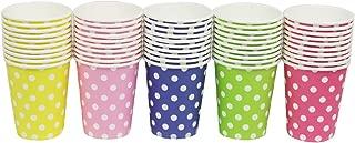 Chenhon Party Disposable Cups, Paper Cups for ,Weddding & Party Cups 8oz (Multicolor Dot 50pcs)