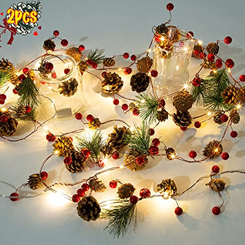 2 Pack Artificial Christmas Garland with Lights - Battery Operated 6.56FT Prelit Garland with 20 LED lights, Red Berries, Pine Cones, Pine Needles Decor for Xmas Tree Thanksgiving Home Fireplace Party