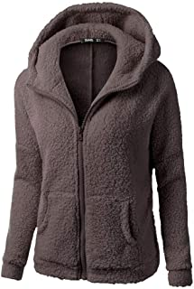 Womens Plush Hooded Sweater Coat Winter Warm Wool Zipper Coat Cotton Coat Outwear