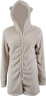 Ladies Cute Long Sleeve Sleepwear Fleece Hooded Cozy Sherpa Romper Fluffy Pajamas Short