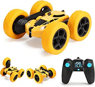 GLOWEE Remote Control Car, 4WD 2.4 Ghz High Speed Electric RC Stunt Car, 360° Double-Side Spinning & Tumbling, LED Headlig...