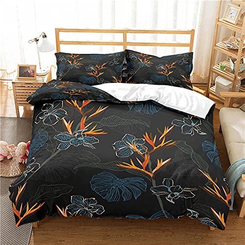 QDoodePoyer Bettwäsche-Sets 3 teilig Mikrofaser Mode Pflanzen Blumen Blätter Bettbezug Set 260x240cm Bettbezug mit Reißverschluss und 2 Kopfkissenbezug 80x80cm Weiche Bettwäscheset