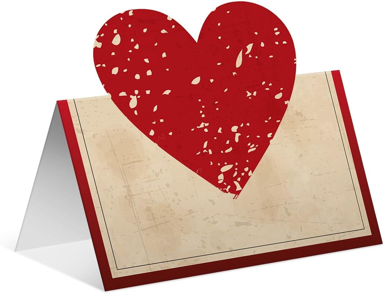 40 x Pop Up Blanko Platzkarten Namenskarten Tischkarten Geburtstag Geburtstag Geburtstag Hochzeit - Vintage Herz in Rot B075NPQ4JN | Hohe Qualität und geringer Aufwand  746b3e