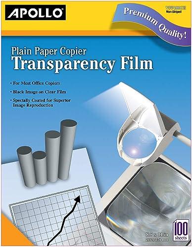 discount Apollo Transparency Film for Plain Paper Copier, Black on wholesale Clear Sheet, Without Stripe, 100 lowest Sheets/Pack (VPP100CE) online sale