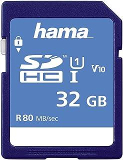 Hama Speicherkarte SDHC 32GB (SD 3.01 Standard, 80 MB/s, Class 10, Datensicherheit dank mechanischem Schreibschutz, Beschriftungsfeld)