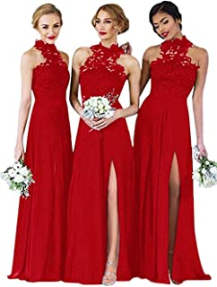 Halter Neck Bridesmaid Dresses Split Lace Chiffon Long A-Line Formal Gowns For Women