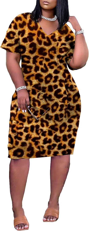 Vakkest Women's Short Sleeve Summer Dress Sexy V Neck Tie Dye T Shirt Party Runched Midi Dress Clubwear