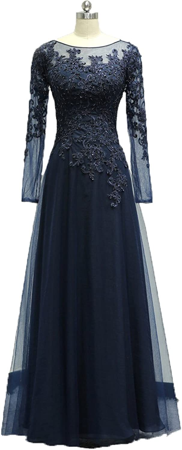 Graceprom Women's Long Sleeves Evening Dress Lace Mother of The Bride Dress