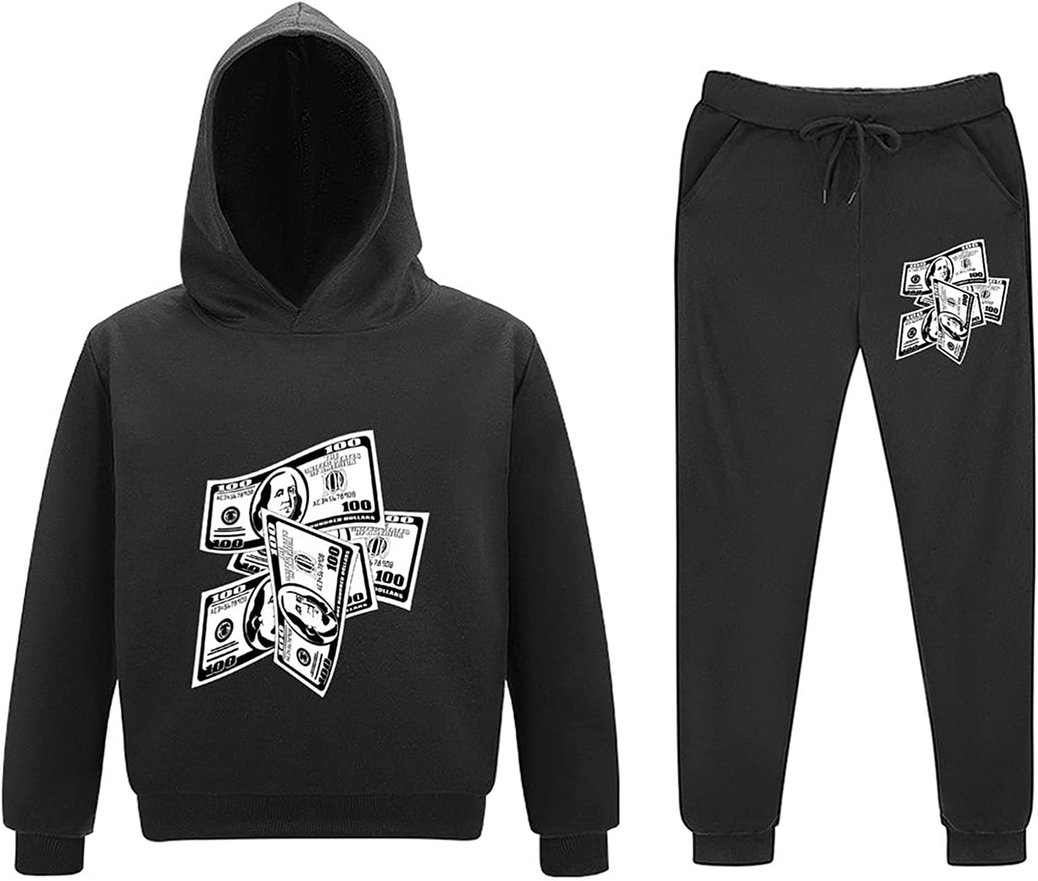 BanknoteTracksuit Sets Youth Hoodie And Sweatpants Suit Outfit Fashion Set For Boys Girls(Two-piece suit)