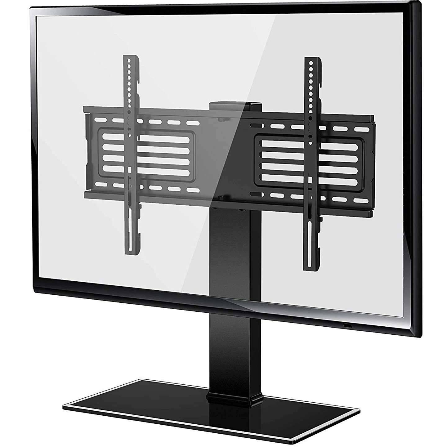 FITUEYES Universal TV Stand with Swivel Mount for 32 inch to 65 inch Flat Screen Tvs Xbox One tv Componentand Height Adjustable Black FTT105001GB