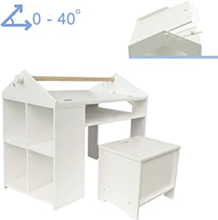 labebe White Painting Table with Chair for 1-5 Years Old  Baby Play Table Set Kid Small Table Kid Table Toddler Table