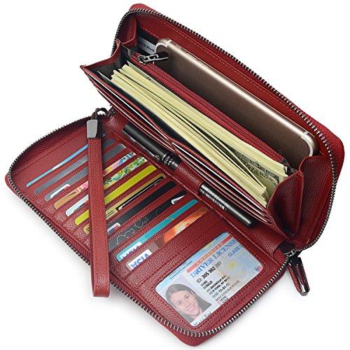 Women RFID Blocking Wallet Leather Zip Around Phone Clutch Large Travel Purse Wristlet (Wine Red)