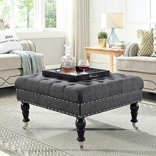 24KF Large Square Coffee Table Upholstered Tufted Button Linen Large Square Ottoman , Large Footrest Bench with Caters Rolling Wheels-Charcoal Gray