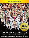 Livre de coloriage pour adultes: 100 pages à colorier. Livre de coloriage anti-stress avec animaux, mandalas, fleurs, fantasy, dessins relaxants et bien plus encore