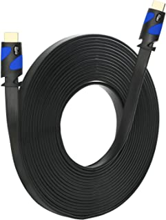 Postta Flat HDMI Cable(50 Feet) Flat HDMI 2.0 Cord Support 4K, Ultra HD, 3D, 2160p, 1080p, Ethernet and Audio Return-Black-Blue