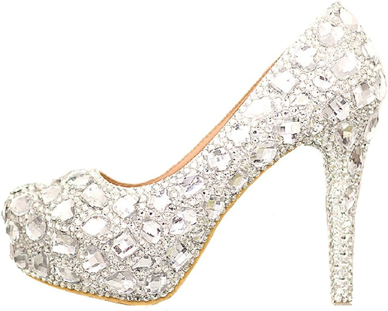 Unicoratha Women's Luxury Full Mixed Crystal Rhinestone Pattern Platform Pumps Wedding Dress Heel shoes