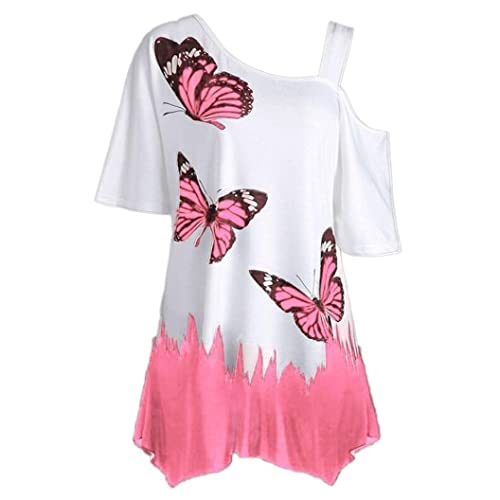 42238768 GIFC Women Plus Size T-Shirt Butterfly Print Floral Short Sleeve Off  Shoulder Casual Loose
