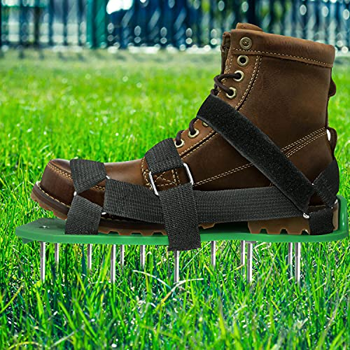EEIEER Rasenbelüfter Rasenlüfter Vertikutierer Rasen Vertikutierer Rasen Nagelschuhe für Dein Rasen oder Hof, Rasenbelüfter Schuhe mit Klettbändern Kostenlose Installation Einheitsgröße