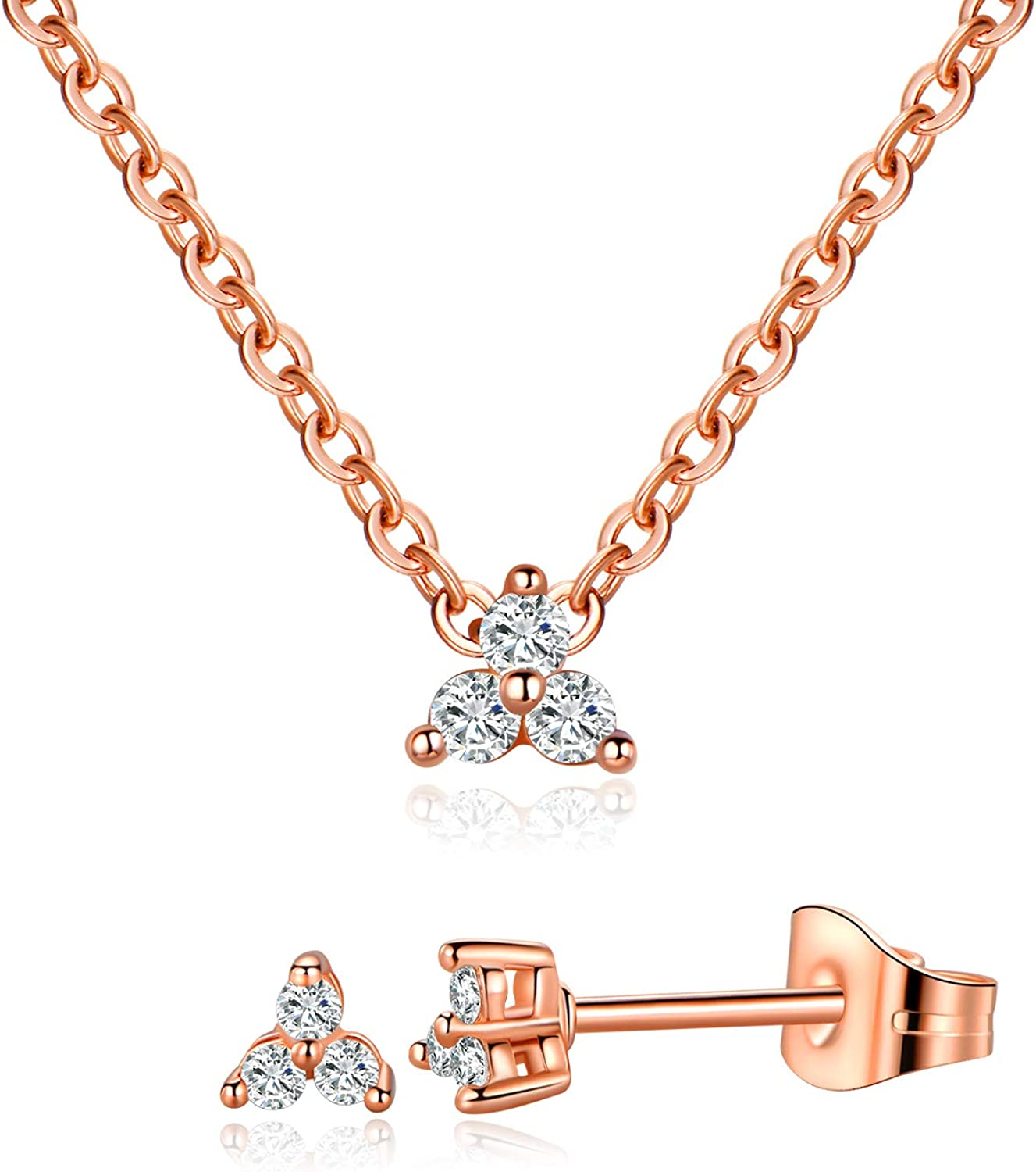 MDFUN Classic Halo Necklace and Stud Earring for Women and Girls, 18K Gold Plated Sparkle Cubic Zirconia Round Cut Clover Earring & Pendant Jewelry Set